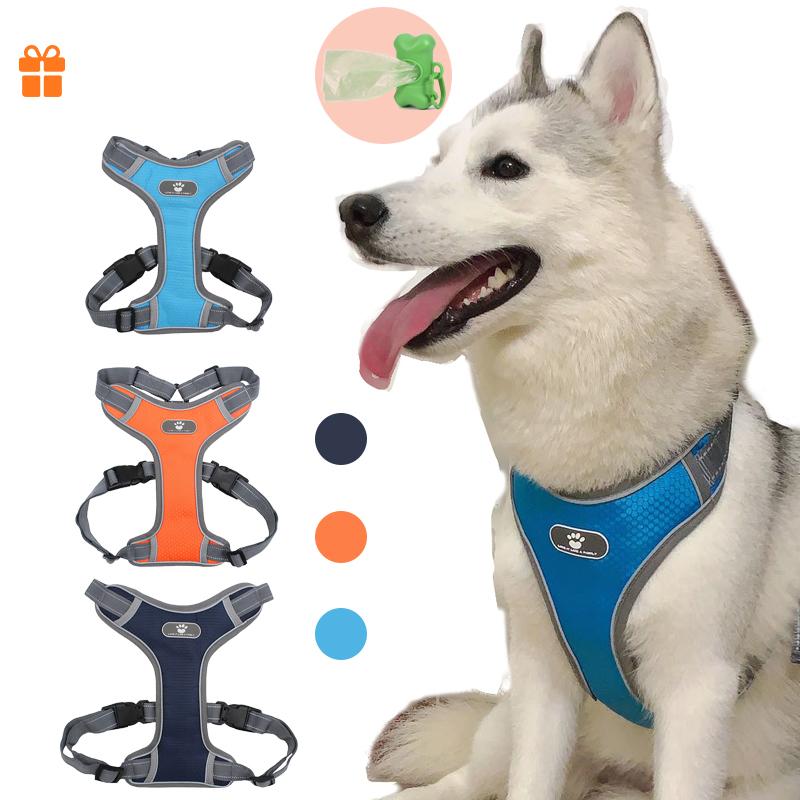 Coleira-reflexiva-para-cachorro-coleira-peitoral-ajust-vel-reflexiva-para-c-es-malha-respir-vel-para