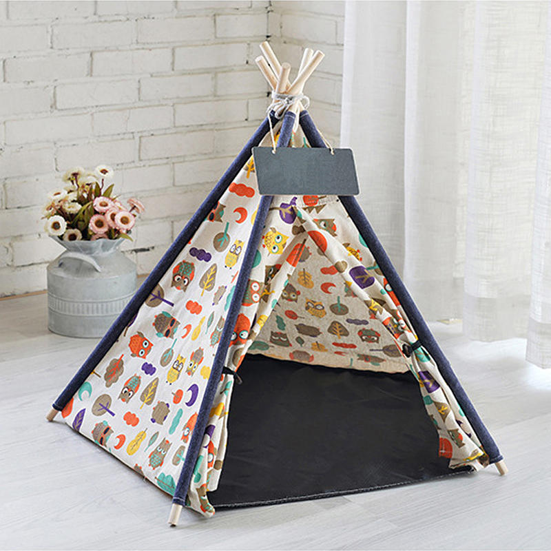 Portable-Linen-Pet-Tent-Dog-House-kitten-House-Washable-Teepee-Puppy-Cat-Indoor-Outdoor-Kennels-Port